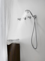 Double-handle shower mixer tap / wall-mounted / stainless steel / bathroom