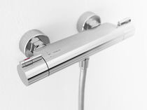 Double-handle shower mixer tap / wall-mounted / brass / thermostatic
