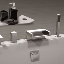 Bathtub mixer tap / chromed metal / chrome-plated brass / thermostatic