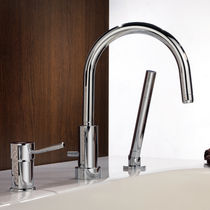 Shower mixer tap / for bathtubs / chromed metal / chrome-plated brass
