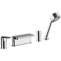 Bathtub mixer tap / built-in / chromed metal / chrome-plated brass
