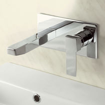Washbasin mixer tap / for bathtubs / wall-mounted / chromed metal