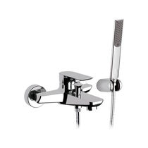 Bathtub mixer tap / wall-mounted / chromed metal / chrome-plated brass