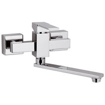 Wall-mounted mixer tap / chromed metal / chrome-plated brass / kitchen
