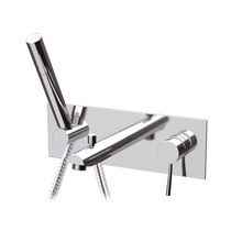 Bathtub mixer tap / wall-mounted / built-in / chromed metal