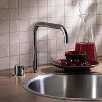 Brass mixer tap / stainless steel / kitchen / 2-hole