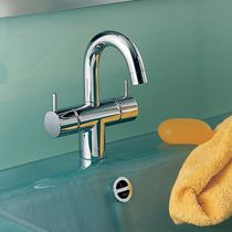 Double-handle washbasin mixer tap / free-standing / brass / stainless steel