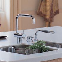 Brass mixer tap / stainless steel / kitchen / 3-hole