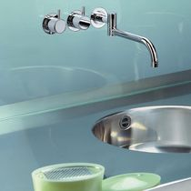 Built-in double-handle mixer tap / brass / stainless steel / kitchen