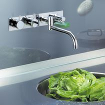 Wall-mounted double-handle mixer tap / brass / stainless steel / kitchen