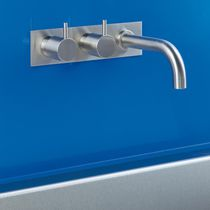 Double-handle bathtub mixer tap / built-in / brass / stainless steel