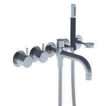 Bathtub mixer tap / built-in / brass / stainless steel