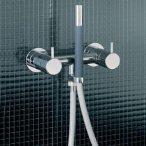 Double-handle shower mixer tap / built-in / metal / bathroom