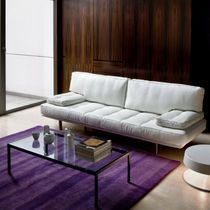 Contemporary sofa / fabric / leather / steel