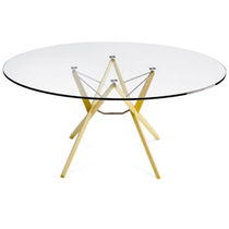 Contemporary table / oak / wenge / glass