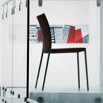 Contemporary chair / upholstered / stackable / with removable cover