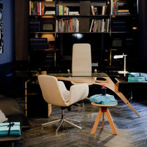 Executive desk / oak / glass / contemporary