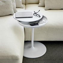 Contemporary pedestal table / aluminum / polyurethane / round