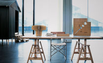Contemporary work table / beech / tempered glass / laminate