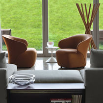 Contemporary armchair / fabric / leather / nylon