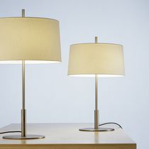 Table lamp / contemporary / metal / linen