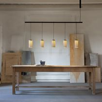 Pendant lamp / contemporary / brass / glass