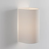 Contemporary wall light / vertical / linen / compact fluorescent