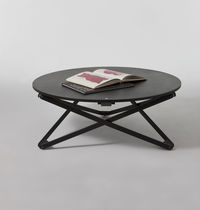 Contemporary table / oak / round / adjustable-height