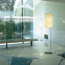 Floor-standing lamp / contemporary / linen / stainless steel