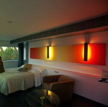 Contemporary wall light / metal / fluorescent / rectangular