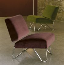 Contemporary fireside chair / fabric / without armrests / green