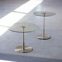 Contemporary side table / glass / metal / round