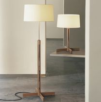 Floor-standing lamp / contemporary / linen / oak