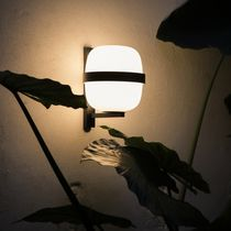 Contemporary wall light / round / opal / metal