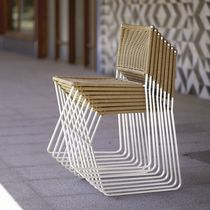 Contemporary chair / wicker / metal / commercial