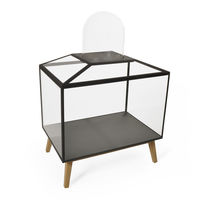 Original design display case / floor-standing / oak / glass