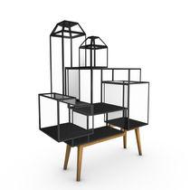 Original design display case / floor-standing / oak / glass
