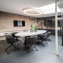 Original design ceiling light / round / glass facing / aluminum