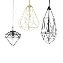 Contemporary ceiling light / steel / LED / incandescent