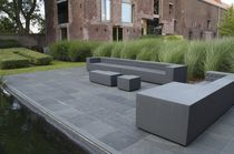Contemporary pouf / coated foam / square / outdoor