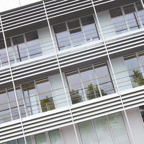 Particle board solar shading / for facades / horizontal