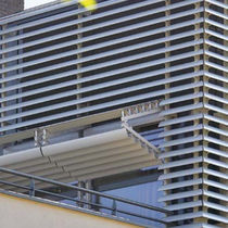 Particle board solar shading / for facades / vertical
