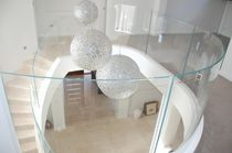 Indoor railing / acrylic / with panels / for stairs