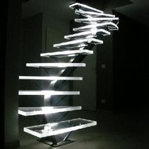 Helical staircase / acrylic steps / metal frame / without risers