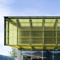 Corrugated polycarbonate panel / profiled / for curtain walls / translucent
