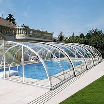 Mid-high swimming pool enclosure / polycarbonate / manual