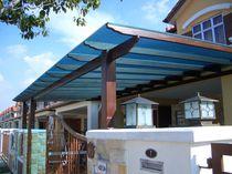 Patio canopy / polycarbonate / methacrylate / metal