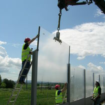 Noise barrier with modular panels / polycarbonate / for roads