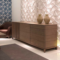 Contemporary sideboard / walnut / lacquered MDF / ash