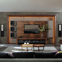 Contemporary TV wall unit / walnut
